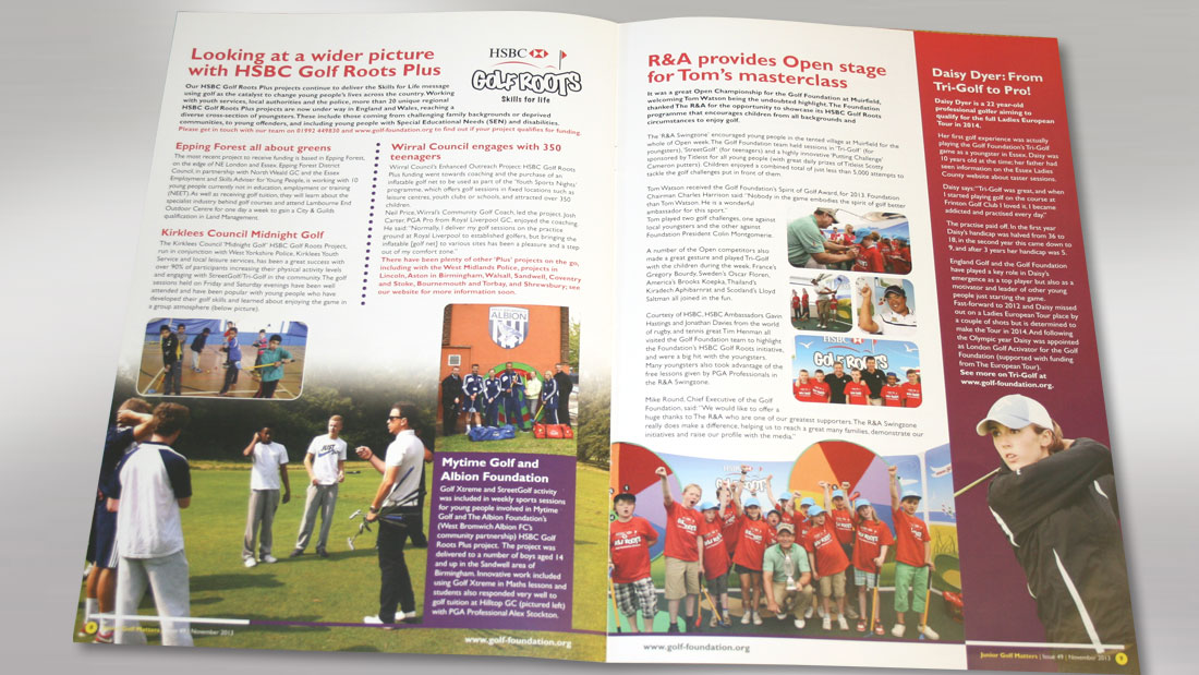 Golf Roots Newsletter Spread