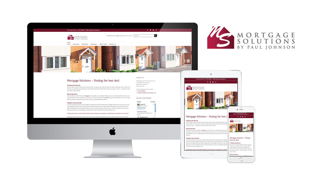 responsive website for Mortgage Soltuons by Paul Johnson